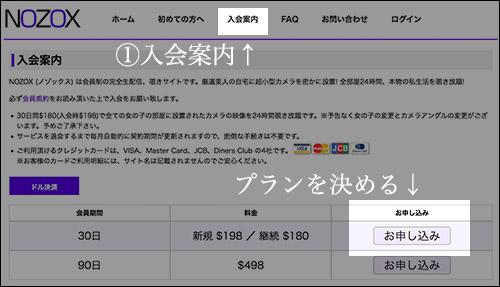月額アダルトサイトのNOZOXの入会方法